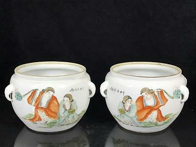 Pair of 19/20th Century Chinese Pot With Figures