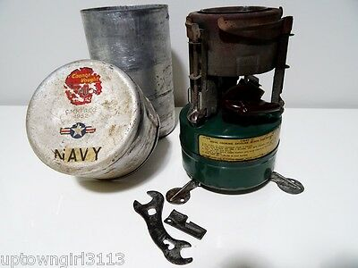 1952 MILITARY FIELD STOVE Coleman CHANCE VOUGHT FT3U CUTLASS NAVY +wrench & clip