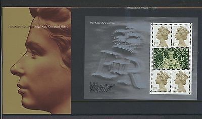 Great Britain Her Majesty's Stamps 2000 souvenir sheet in presentation pack NH