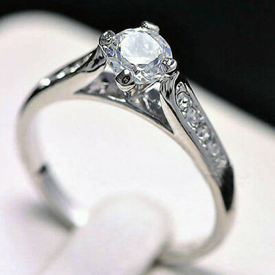 18K White GOLD GF R42 ENGAGEMENT WEDDING SIMULATED DIAMOND WOMEN SOLID RING GIFT