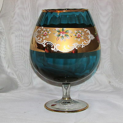 "Large Turquoise Blue Art Glass Snifter Goblet 10"" Gold Italy Venetian Bowl Vase"