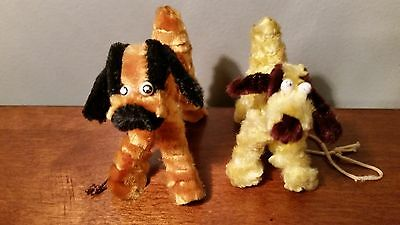 2 Vintage Chenille Pipe Cleaner Dog Animal Figures-Japan-String Leashes-Vgc