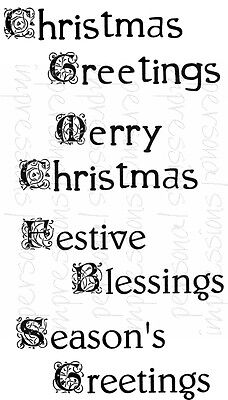 Illuminated Merry Christmas Festive Blessings Greetings 4 clear craft stamps