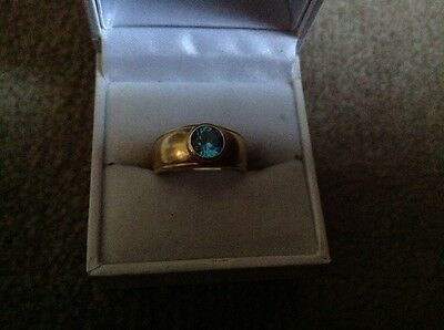 VINTAGE 18Ct Gold Unknown Unusual  Blue Stone Ring Approx. 5g