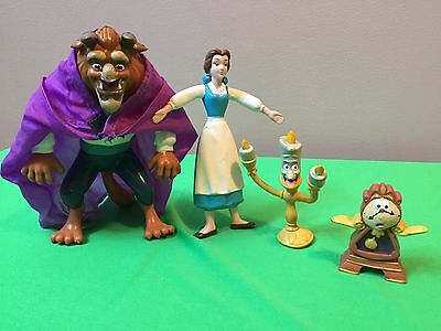 4 Vintage Beauty And The Beast Pvc Rubber Figurines - Uncommon Set Collection