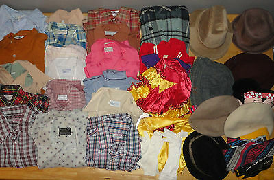 Huge 40+ Piece Lot of VINTAGE CLOTHING from 50s 60s 70s - Shirts Hats Jackets