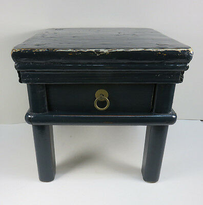Rustic Navy Blue Old Chinese Small Wood Low Display Stand Table w/ Drawer