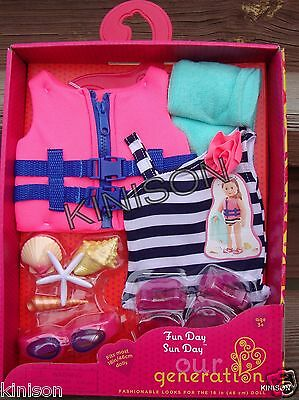 "Our Generation 18"" Doll Fun Day Sun Day Bathing Suit Life Vest Shells Outfit"