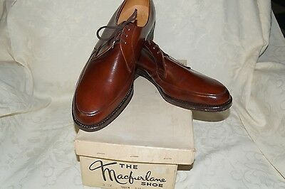 New Vtg Macfarlane  Brown Leather Derby Shoes 10 Leather Sewn Sole Goodyear Heel
