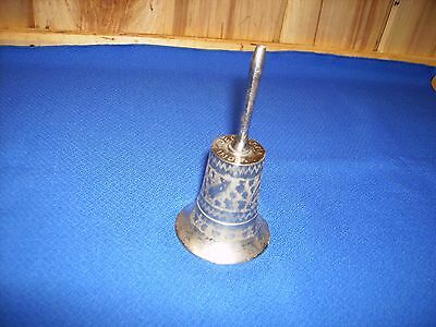 Old Silver Dinner Bell Collectible, Art Deco Style Highly Decorated