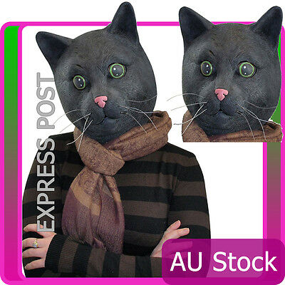 Black Cat Head Mask Halloween Costume Animal Zoo Party Facial Latex Cosplay  sc 1 st  PicClick & BLACK CAT HEAD Scary Halloween Party Facial Mask Latex Animal ...