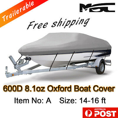 MSC Heavy Duty 600D 14-16ft 4.2-4.8m Marine Grade Trailerable Boat Cover Grey