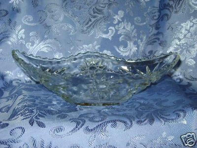 Vintage Anchor Hocking Eapc Glass Celery Boat Gondola Prescut Dish Star Of David