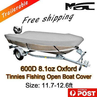 MSC 11.7-12.6ft 600D Marine  Styled to fit Tinnies fishing  boat cover grey