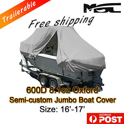 MSC New Design with Zipper 600D 4.9-5.2m 16ft-17ft T-Top Jumbo Boat Cover Grey