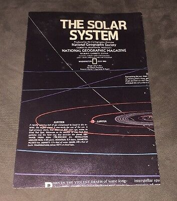"""1981 National Geographic Map Of """"The Solar System"""""""