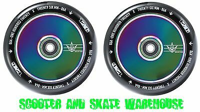 2X Envy 120Mm Hollow Core Scooter Wheels - Oil Slick - Bearings Included