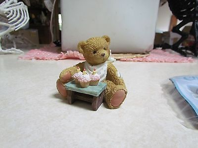1992 Cherished Teddies NOS: #911313 Three Cheers for You Age 3 Bear Figurine OB