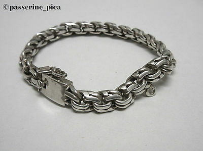 MEXICAN SILVER Vintage Sterling  Thick Hinge Charm Rope Chain Heavy Bracelet 925