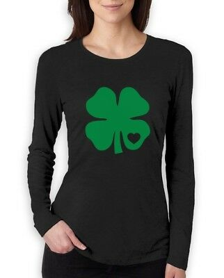 Green Clover Heart St. Patrick's Day Irish Shamrock Women Long Sleeve T-Shirt