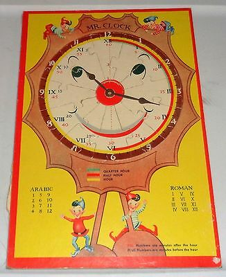 Vintage 1950's Artcraft Products Puzzle Cardboard Mr. Clock Learn To Tell Time