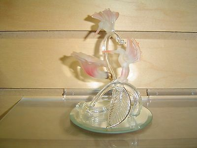 2 Glass Hummingbirds On Pink Flower Figurine