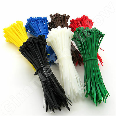 Black White Coloured Nylon Plastic Cable Ties Zip Tie Wraps 100mm 200mm 300mm