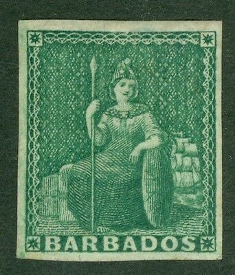 SG 8 Barbados ½d green. A pristine very lightly mounted mint example. 4 fine...