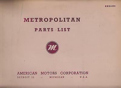 Austin / Amc Metropolitan Series I Ii Iii & Iv Original Factory Parts Catalogue