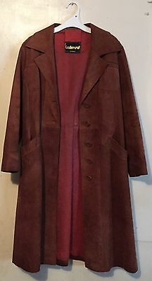 Vintage LEATHERCRAFT Tan Brown Genuine SUEDE Leather Trench Coat - Full Length