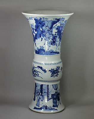 Antique Chinese blue and white beaker vase, Kangxi (1662-1722)