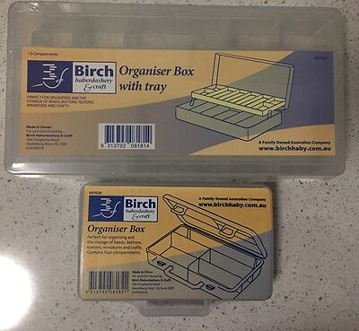 Birch Organiser boxes small  - Pack of 2 - beads buttons notions minatures craft