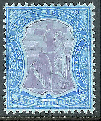Montserrat 1908 purple/blue on blue 2/- multi-crown CA mint SG45