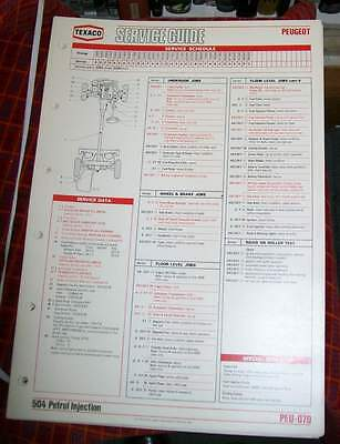 Peugeot 504 Petrol Injection Texaco Service Guide.