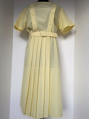 Ladies Vintage Retro Yellow Poly/cotton Pleated Dress Size 18 By St Michael
