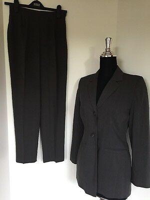 Ladies Vintage Retro Grey Poly-Viscose Trouser Suit By Dorothy Perkins Size 8