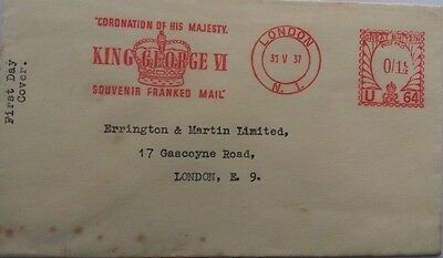 Great Britain 1937 Cover With Coronation Souvenir Meter Mark With Incorrect Date