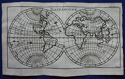 Original antique copper-engraved DOUBLE HEMISPHERE WORLD MAP, La Pluche 1752