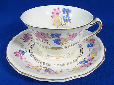 Beautiful Vintage Alfred Meakin England Connaught Hand Painted Cup & Saucer