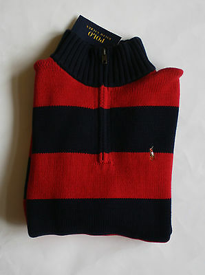 $55 NWT Boys Polo Ralph Lauren Red Navy Striped 1/2 Zip Mock Neck Sweater L