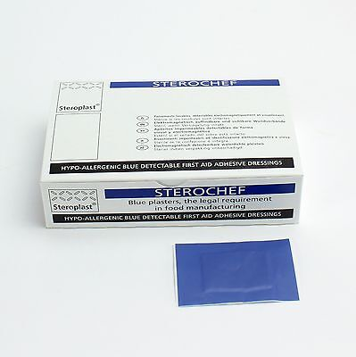 Blue Metal Detectable First Aid Plasters - Catering. 7.5 x 5cm - Large Square.