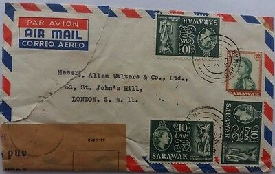 Sarawak 1962 Airmail Cover Damaged In Transit & Repaired In England With Tape