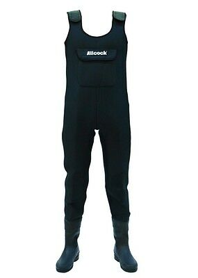 Allcock Neoprene Chest Waders With Rubber Boots & Front Pocket Size 7 -12