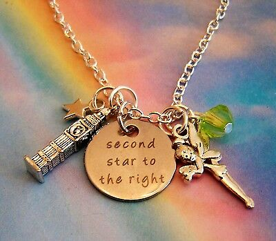 Peter Pan Tinkerbell Fairy Big Ben Clock Charm Necklace Second Star To The Right