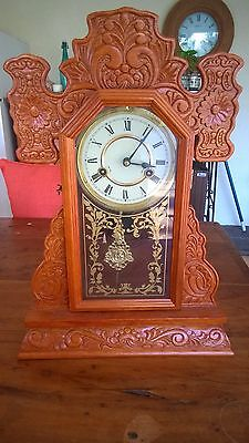 Mantle Clock Gingerbread Clock Rooster Clock Carved Wood Antique Reproduction