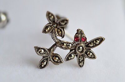 Vintage solid silver marcasite dragonfly screw post earrings-Art nouveau?