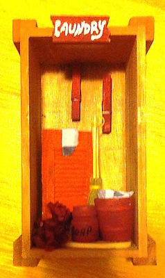 Miniature BURGUNDY LAUNDRY Wooden Crate Handcrafted Collectible Home Decor