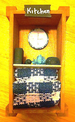 Miniature GREEN KITCHEN Wooden Crate Handcrafted Collectible Home Decor