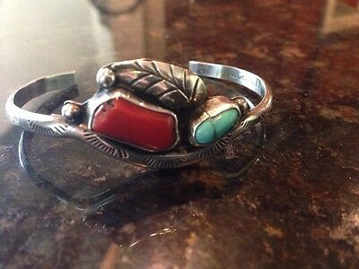 Navajo Native American Turquoise/Coral Silver Bracelet by L. Charley EUC