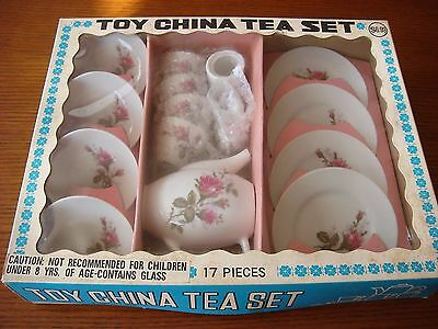 VINTAGE Toy China Tea Set in Box - Rose Pattern - Made in Japan for Woolworth